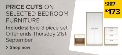 Price Cut - Evie 3 Piece Bedroom Furniture Set