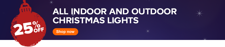 25% off all indoor and outdoor Christmas lights