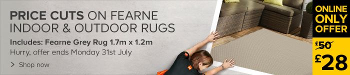 Price cuts on Fearne indoor and outdoor rugs