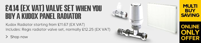 £4.14 (EX VAT) Radiator Valve with selected Kudox Radiators