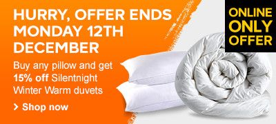 Buy any pillow and get 15% off Silentnight Winter Warm duvets