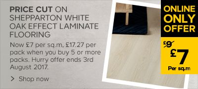 Now:£17.27 per pack when you buy 5 packs or more of the Shepperton white oak laminate flooring