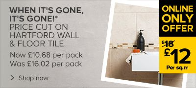 Hartford Wall & Floor Tile, Now: £ 12 per.sqm, Now £10.68 per pack