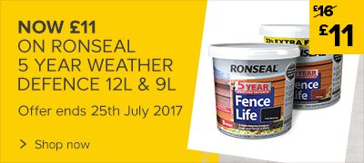 Now £11, Was £16 on 9L & 12L Ronseal Weather defence