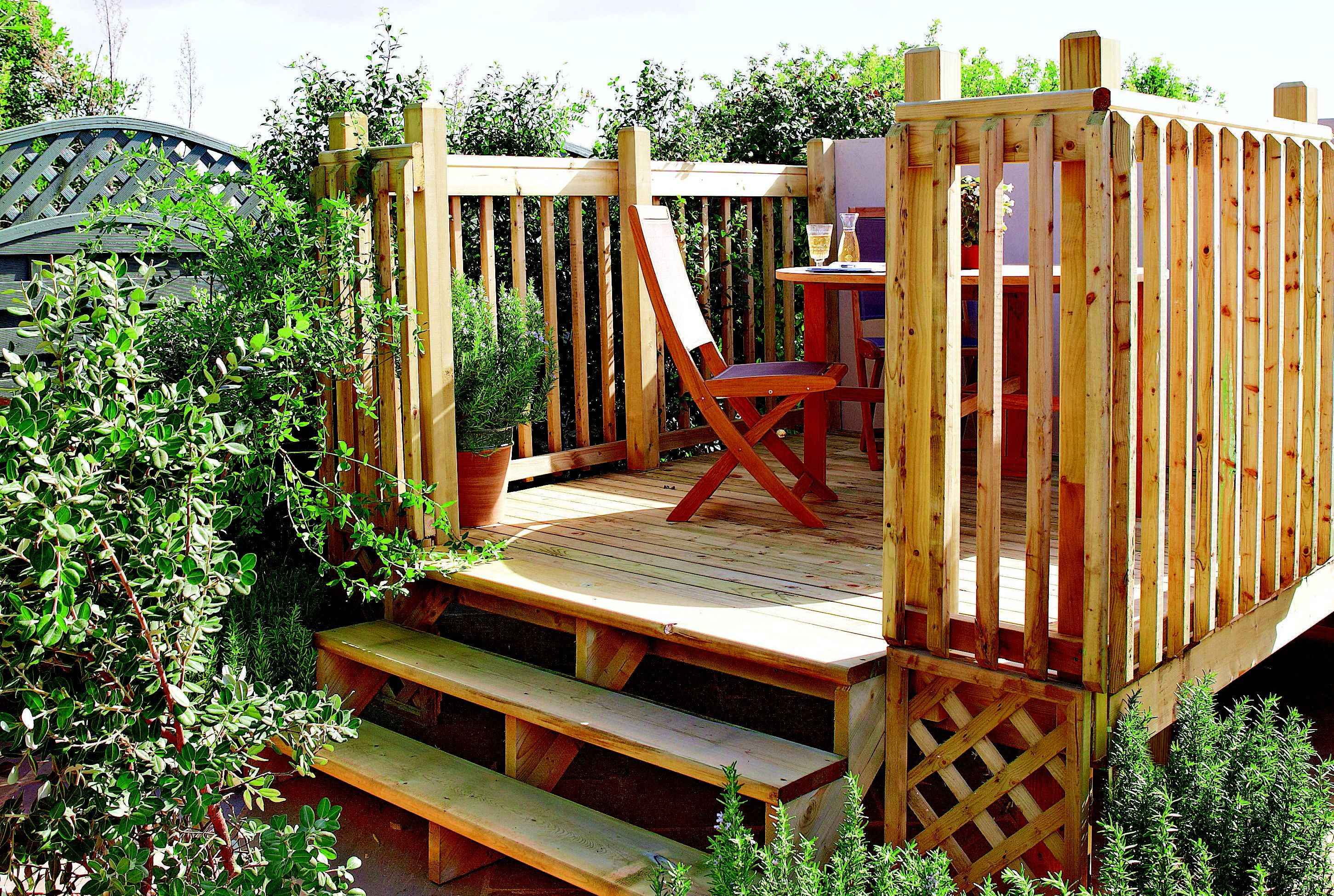 How to build a raised deck help ideas diy at b q for Timber deck construction