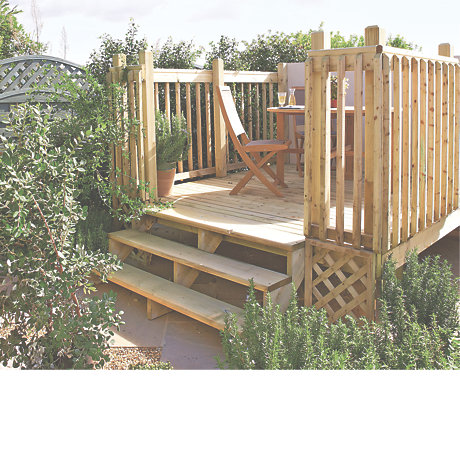 raised deck with stairs