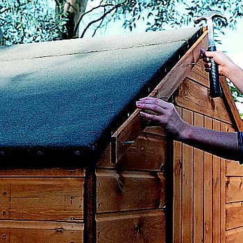 Shed roof being felted