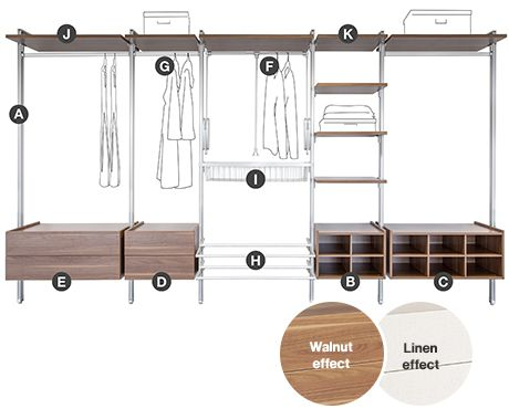 Relax interior storage for sliding wardrobes