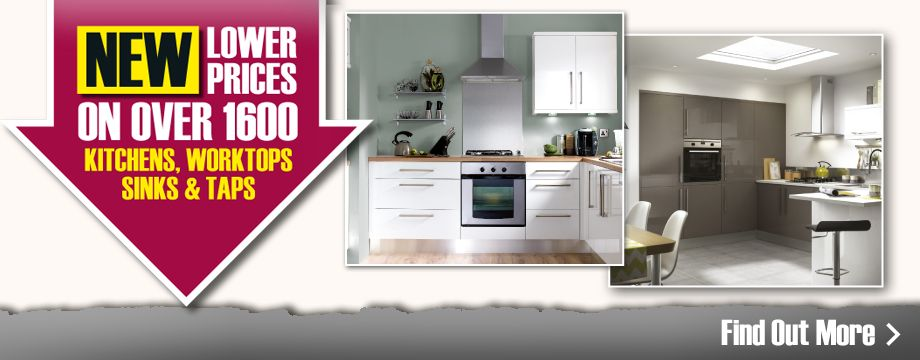 New lower prices on over 1600 kitchens, worktops, sinks & taps