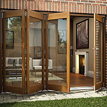 Oak Veneer Folding Sliding Patio Door