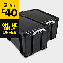 REALLY USEFUL EXTRA STRONG BLACK 84L PLASTIC STORAGE BOX