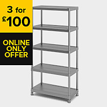 GREY & MATT 5 TIER SHELVING UNIT