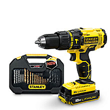 STANLEY FATMAX CORDLESS 18V 2AH LI-ION BRUSHED COMBI DRILL 2 BATTERIES