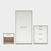 EVIE GLOSS WHITE & OAK EFFECT 3 PIECE BEDROOM FURNITURE SET
