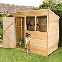 7x5 pent wooden shed with base