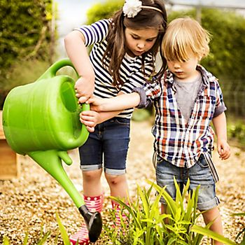 Children using watering can to water flower bed