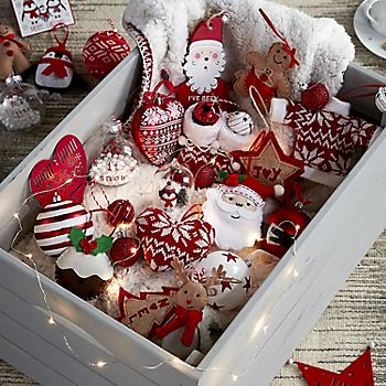 Christmas decorations in box