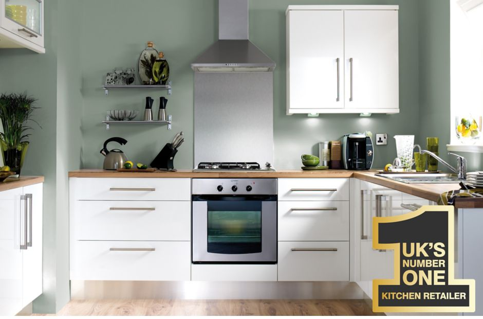our kitchen ranges | white gloss slab | diy at b&q