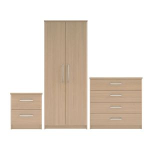 View Elsey 3 Piece Oak Effect Wardrobe, Chest & Bedside Cabinet Set details