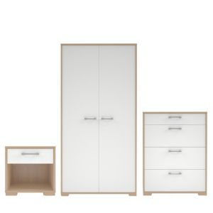 View Evie 3 Piece Gloss White Oak Effect Wardrobe, Chest & Bedside Cabinet Set details