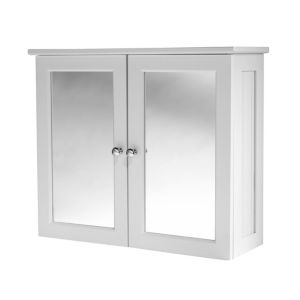 View B&Q Adelite Tongue & Groove Lacquer White Mirror Cabinet Unit details