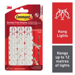 View 3M Command White Plastic Decoration Clips, Pack of 20 details