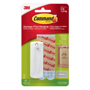 Image of 3M Command White Adhesive saw-toothed picture hanger 3 Pieces