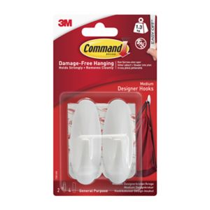 View 3M Command White Plastic Hooks, Pack of 2 details