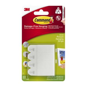 Image of 3M Command White Adhesive picture hanging strip of 4