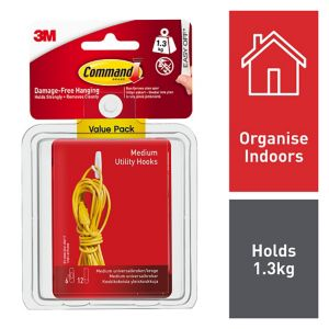 View 3M Command White Adhesive Hook (L)75mm, Pack of 6 details