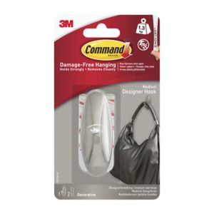 Image of Command Chrome effect Frosted Metal Hat & coat hook Pack of 1