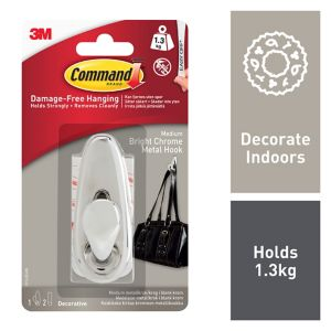 View 3M Command Chrome Effect Adhesive Hook (L)80mm details