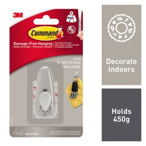 View 3M Command Chrome Effect Adhesive Hook (L)65mm details