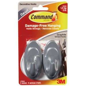 Image of 3M Command Grey Graphite Effect Plastic Hooks Pack of 2
