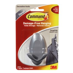 Image of 3M Command Grey Graphite Effect Plastic Double Hook