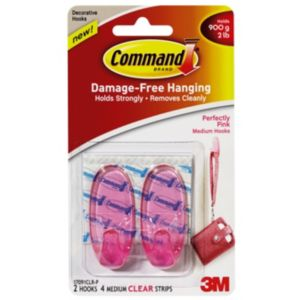 3M Command Pink Plastic Hooks  Pack of 2