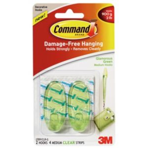 3M Command Green Plastic Hooks  Pack of 2
