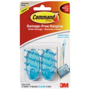 3M Command Blue Plastic Hooks  Pack of 2