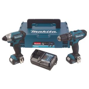 Image of Makita Cxt 2Ah Li-Ion Combi Drill & Impact Driver Twin Kit 2 CLX202AJ