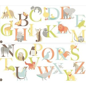 Image of Fun4Walls Alphabet zoo Multicolour Self adhesive Wall sticker
