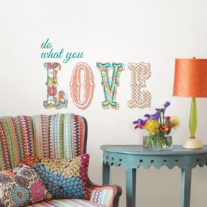 Image of Wallpops Do What You Love Multicolour Self Adhesive Wall Sticker (H)500mm (W)560mm