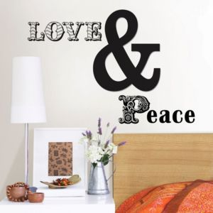 Photo of Wallpops love & peace black self adhesive wall sticker -h-41cm -w-56cm