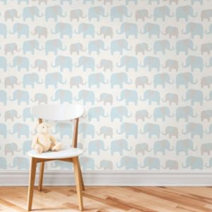 Image of Wallpops Elephant parade Blue Peel & stick wallpaper (L)5500mm (W)520mm