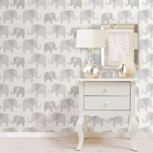 Image of Wallpops Elephant Parade Grey Peel & Stick Wallpaper (L)5500mm (W)520mm