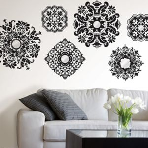 Image of Wallpops Baroque Black Self Adhesive Wall Sticker (H)740mm (W)1500mm