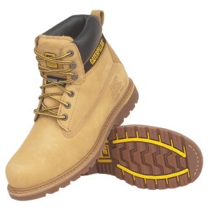 View Cat Holton Honey Steel Toe Cap Leather Boots, Size 9 details
