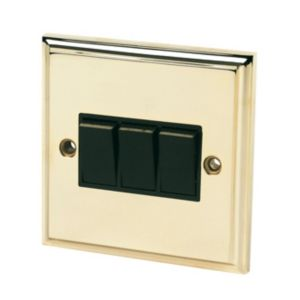 View Brass Effect Rocker Triple Light Switch 3-Gang 2-Way SP 10A details