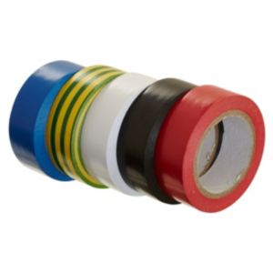 View B&Q Black, Blue, Brown, Red & White Insulation Tape (W)19mm (L)10m, Pack of 5 details