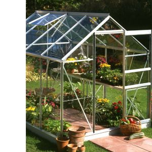 Image of B&Q Premier Metal 6x8 Toughened safety glass greenhouse