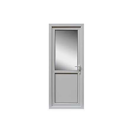 White pvcu half glazed back door frame lh h 2055mm w for Back door and frame set